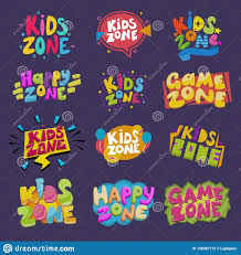 Game Room Vector Kids Playroom Banner In Cartoon Style For Children Happy Play Zone Decoration Illustration Set Of Stock Vector Illustration Of Logo Graphic 128387172
