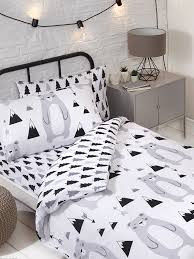 scandi bear single duvet cover and
