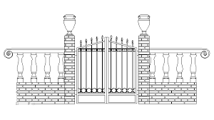 Autocad Drawing Iron Work Gate And Fence Dwg