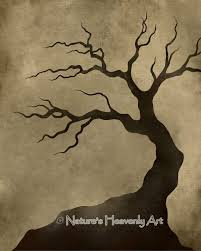 Bare Tree Silhouette 8 X 10 Art Print Crooked Spooky Branches Natural Earthy Colors Brown Wall Decor Tan 99 Tree Silhouette Bare Tree Tree Drawing