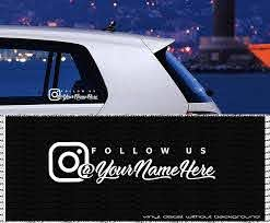 Amazon Com Follow Us Instagram Custom Vinyl Decal Personalized Text Vinyl Sticker Wall Decals Car Window Laptop Decal Without Background Handmade
