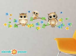 Owls On A Branch Fabric Wall Decals Set