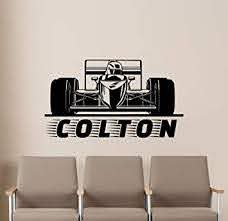 Amazon Com Personalized Formula One Wall Decal Race Car Boy Name Custom F1 Racing Gift Bedroom Poster Stencil Artwork Vinyl Sticker Playroom Nursery Wall Art Baby Kids Room Wall Decor Removable Mural 9v