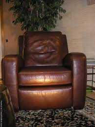 crate and barrel brown leather recliner