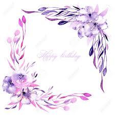 Borde De La Esquina Con Acuarela Rosas Purpuras Flores Y Ramas De