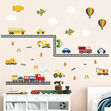 Amazon Com Decalmile Construction Transportation Wall Decals Car Truck Plane Boys Wall Stickers Kids Bedroom Baby Nursery Playroom Wall Decor Home Kitchen