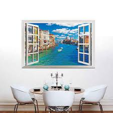 Hot Sale Water City Large 3d Window Wall Art Sticker Italy Venice City River Mural Vinyl Decals Vinyl Decal 3d Windowwall Art Aliexpress