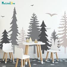 Big Offer 48ed5a Woodland Nursery Forest Decals Pine Tree Bird Huge Tree Baby Room Decal Sticker Home Decor Removable Vinyl Wall Stickers Bb649 Cicig Co