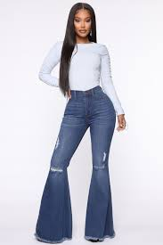 Abigail Bell Bottom Jeans - Medium Blue Wash – Fashion Nova