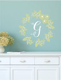 Floral Wreath Monogram Wall Decal