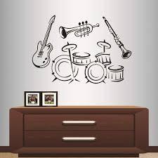 Amazon Com Wall Vinyl Decal Home Decor Art Sticker Musical Instruments In Retro Style Drum Guitar Trumpet Jazz Music Club Studio Room Removable Stylish Mural Unique Design 2126 Home Kitchen