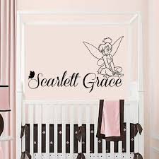 Tinkerbell Wall Decal Girls Name Baby Girl Wall Stickers Etsy