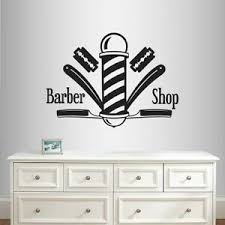 Vinyl Decal Barber Shop Logo Barber Pole Hairstyle Haircut Wall Art Sticker 2010 Ebay