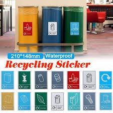 Trash Bin Stickers Classification Sign Recycle Bin Recycling Sticker Waste Signage Sign Waterproof General Waste Logo Garbage Wall Stickers Aliexpress