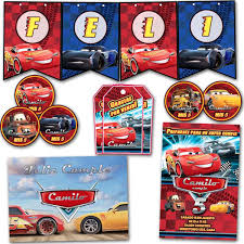 Kit Cars 3 Invitaciones Banderin Tarjetitas Stickers Impreso