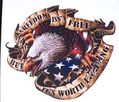 American Flag Eagle Freedom Isnt Free Full Color Graphic Window Decal Stick
