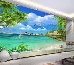 خلفيات 3d Hd شجرة جوز الهند جميلة البحر مشهد غرفة المعيشة خلفية