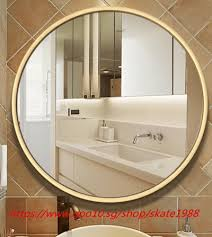 qoo10 wooden frame round wall mirror