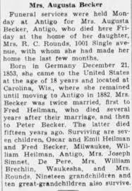 Obituary for Augusta Becker - Newspapers.com