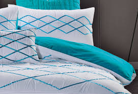 Adela White and Turquoise Blue Quilt Cover Set by Luxton – Luxton Linen