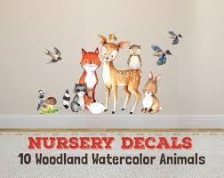 Wall Decal Nursery Fox Friends 10 Woodland Watercolor Animals
