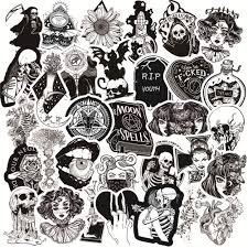Amazon Com 50pcs Gothic Stickers For Water Bottle Black White Skull Stickers Waterproof Vinyl Stickers Perfect For Hydro Flask Laptop Phone Car Skateboard Arts Crafts Sewing