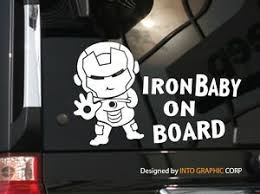 Baby On Board Car Decal Sticker Cute Superhero Baby Character Iron Man 7 75 W Ebay