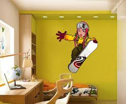 Cik1422 Full Color Wall Decal Girl Snowboard Snowboarder Sports Hall B Stickersforlife
