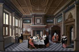 Dirck Van Delen An Interior With Ladies And Gentlemen Dining Wall Decal Traditional Wall Decals By Art Megamart