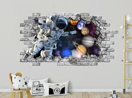 Astronaut Wall Sticker 3d Window Hole In The Decal Space Etsy