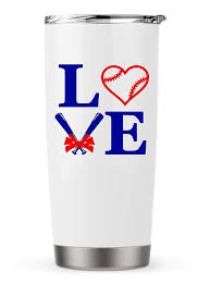 Amazon Com Baseball Love Decal Sticker With Name Bow For Laptop School Car Yeti Rtic Ozark Tumbler Or Cup Handmade