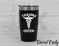 Trauma Queen Nurse Medical Symbol Vinyl Decal Sticker