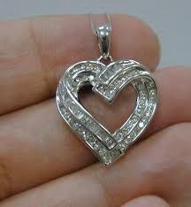 baguette diamond heart pendant necklace