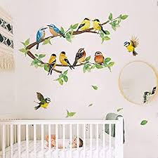 Amazon Com Ufengke Robin Birds Wall Stickers Tree Branch Wall Decals Nursery Wall Art Decor For Kids Bedroom Living Room Furniture Decor