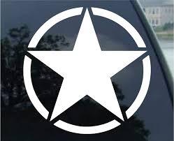 Amazon Com Crawford Graphix White Star Us Military Army White Decal Sticker Die Cut White Decal Sticker 5 5 White Automotive