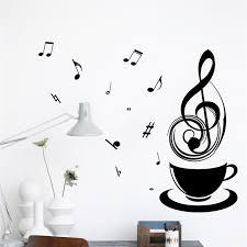 Coffee Music Note Cups Cafe Tea Wall Stickers Art Vinyl Decal Kitchen Restaurant Pub Home Decor Mural Wallpaper Relax Mom Gift Decoration Murale Vinyl Decalwall Sticker Aliexpress
