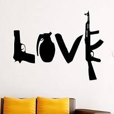 Amazon Com Vwsitc Wall Sticker Creative Love Weapons Vinyl For Kids Handgun Dagger Machine Gun Wall Decals Home Decor Room 76x58cm Kitchen Dining