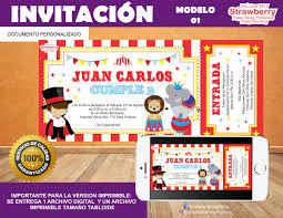 Invitacion Tipo Ticket Circo 01 85 00 En Mercado Libre