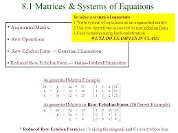 8 1 matrices systems of equations