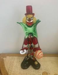 murano glass clown red hat yellow hair