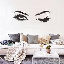 Pretty Eyes Eyelashes Wall Decal For Girls Room Stylish Mural Art Decal For Salon Wall Nordicwallart Com