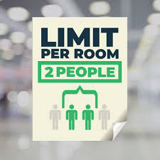 Limit Per Room 2 People Window Decal Plum Grove
