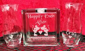 glass block sand ceremony set happily