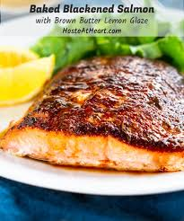 baked blackened salmon with brown
