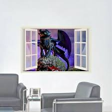 How To Train Your Dragon Toothless 3d Window View Wall Sticker Wall Decal