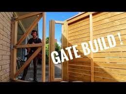 wooden gate with horizontal slats