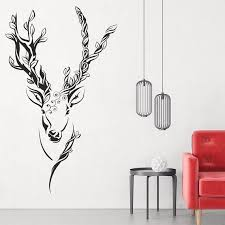 Deer Silhouette Wall Decal Living Room Wall Decal Fantasy Etsy