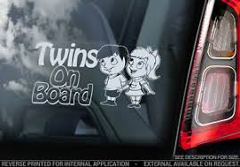 Twins On Board Car Window Sticker Decal Sign Baby Brother Sister Child V03 Ebay
