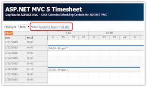 asp net mvc 5 timesheet daypilot code