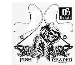 Amazon Com Fishing Fish Grim Reaper Pole Skull Car Truck Window Vinyl Decal Sticker Handmade